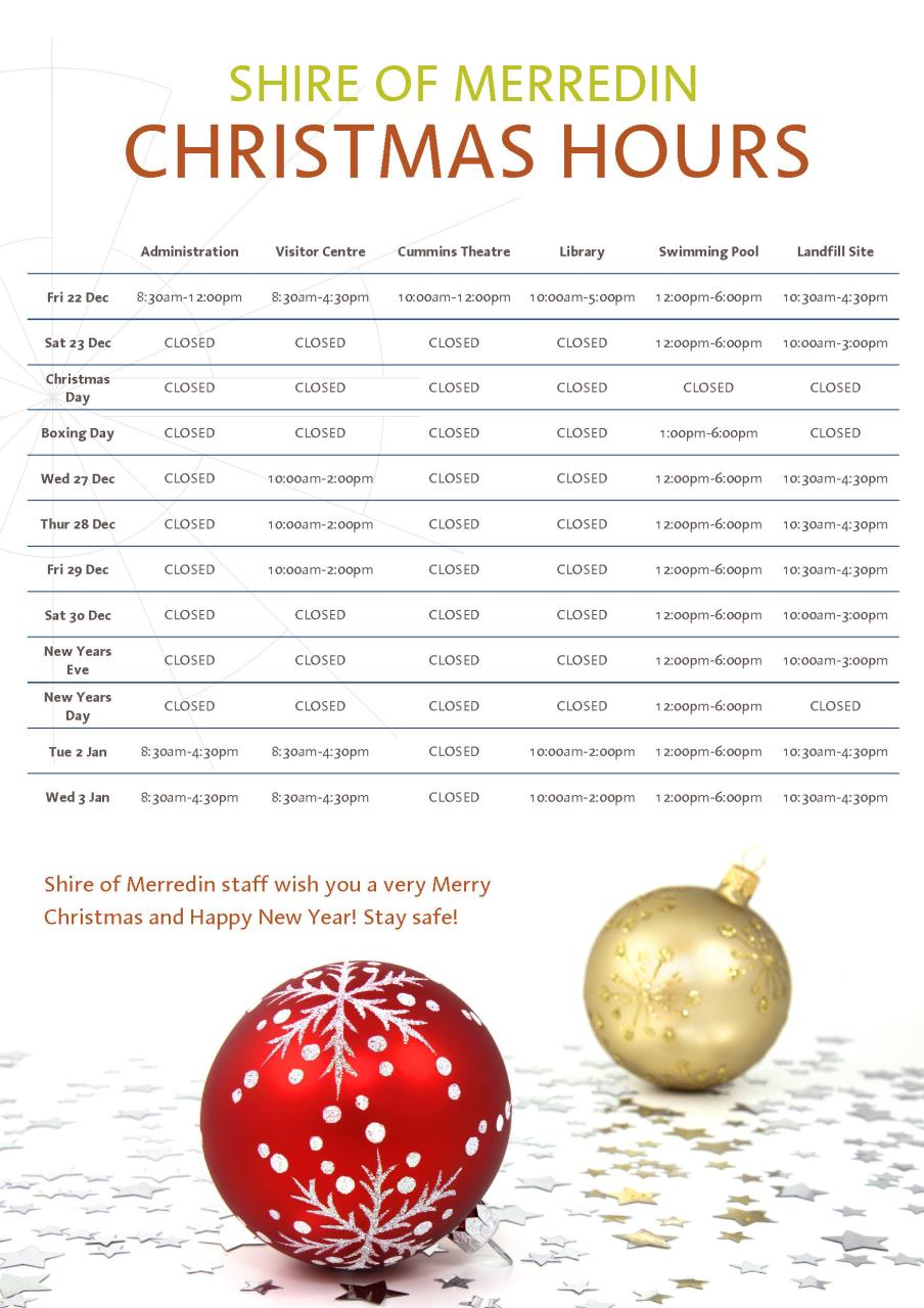 Shire Christmas opening hours