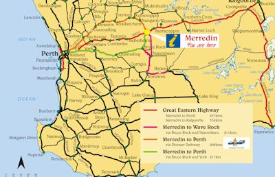 Maps Shire Of Merredin - Map of western australia with towns